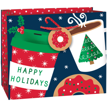 Image de DECOR - GIFT BAG - HAPPY HOLIDAYS COFFEE HORIZONTAL SMALL BAG