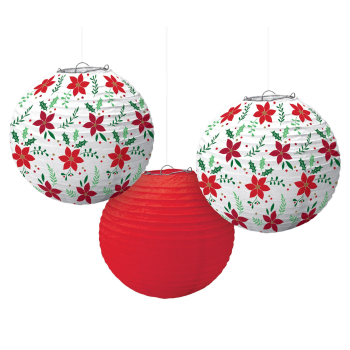 Image de DECOR - CHRISTMAS LANTERNS - POINSETTIA