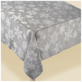 Picture of TABLEWARE - GREY SNOWFLAKE FABRIC TABLE COVER