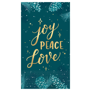 Image de TABLEWARE - VERY MERRY TEAL GUEST TOWEL - HOT STAMPED