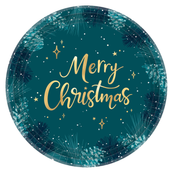 "Image de TABLEWARE - VERY MERRY TEAL - 10"" METALLIC PLATE"