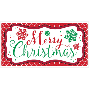 Image de DECOR - MERRY CHRISTMAS LARGE PLASTIC BANNER