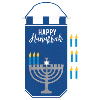 Picture of DECOR - HANUKKAH FELT BANNER WITH VELCRO CANDLE ADD-ONS