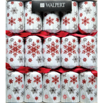 "Image de TABLEWARE - CRACKERS - 11"" RED GLITTERY SNOWFLAKES"