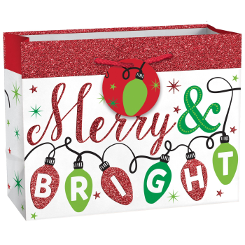 Image de DECOR -  GIFT BAG - HORIZONTAL CHRISTMAS BAG - MERRY BRIGHT