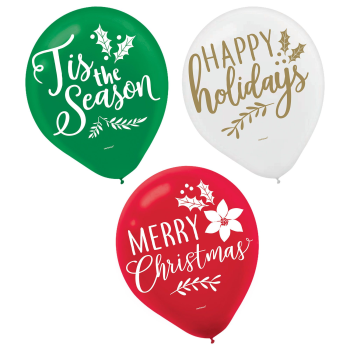 "Image de BALLOONS - 12"" LATEX BALLOONS - TRADITIONAL CHRISTMAS ASSORTED"
