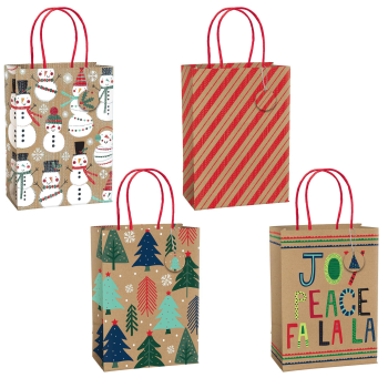 Image de DECOR - GIFT BAG - CHRISTMAS KRAFT MEDIUM BAGS