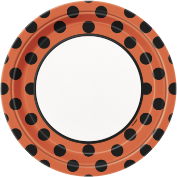 "Picture of HALLOWEEN ORANGE & BLACK DOTS - 9"" PLATES"