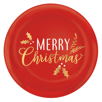 Image de TABLEWARE - MERRY CHRISTMAS RED ROUND PLASTIC PLATTER - HOT STAMPED