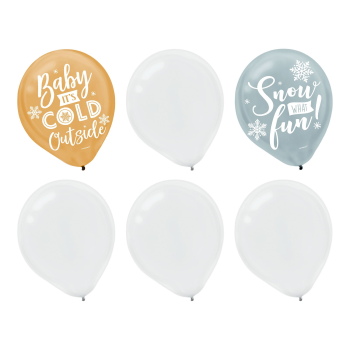 "Image de BALLOONS - 12"" LATEX BALLOONS - SNOW WHAT FUN ASSORTED"