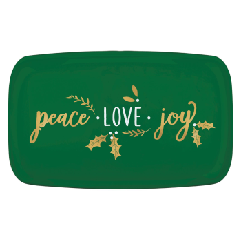 Image de TABLEWARE - PLATTER PEACE LOVE JOY GREEN RECTANGULAR - HOT STAMPED