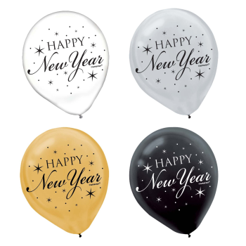 Picture of BALLOONS - HAPPY NEW YEAR BALLOONS - BLACK/SILVER/GOLD - 20CT