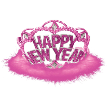 Image de WEARABLES - HAPPY NEW YEAR TIARA WITH PINK MARABOU