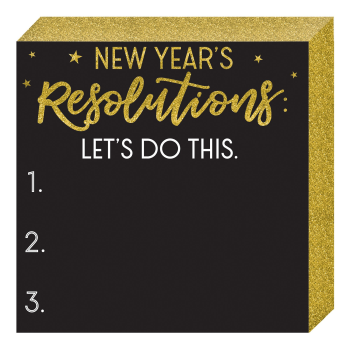 Image de DECOR - NEW YEARS RESOLUTIONS CHALKBOARD MDF SQUARE STANDING PLAQUE