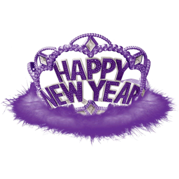 Image de WEARABLES - HAPPY NEW YEAR TIARA WITH PURPLE MARABOU