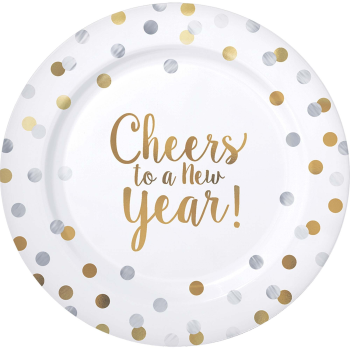 """Image de TABLEWARE - CHEERS TO A NEW YEAR - 7"""" PLASTIC PLATES - 20 PACK"""