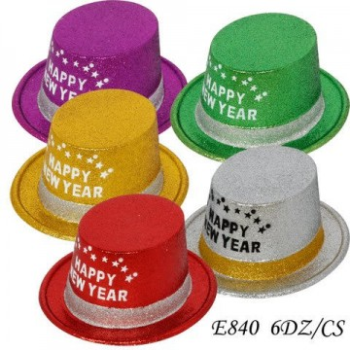 Image de WEARABLES - HAPPY NEW YEAR GLITTER TOP HAT - ASSORTED COLOURS