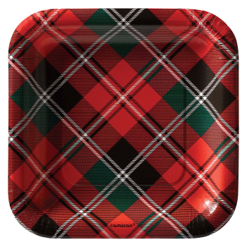"Image de TABLEWARE - HOLIDAY PLAID 7"" SQUARE PLATES"