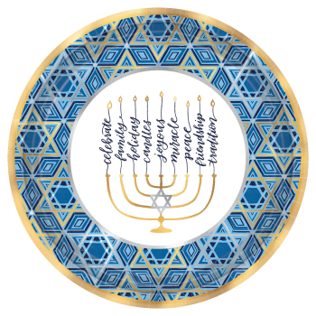"Picture of TABLEWARE - HANUKKAH FESTIVAL OF LIGHTS 12"" PLATES"