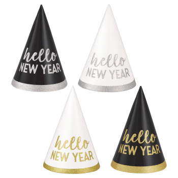Image de WEARABLES - NEW YEAR CONE HATS 6 COUNT - BLACK/GOLD/SILVER