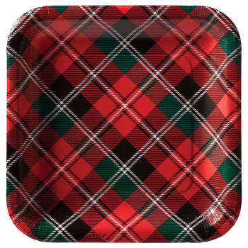 "Image de TABLEWARE - HOLIDAY PLAID 9"" SQUARE PLATES"