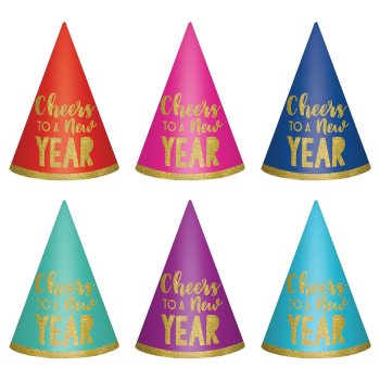 Image de WEARABLES - NEW YEAR CONE HATS 6 COUNT - MULTI COLOUR