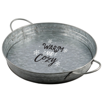 Image de TABLEWARE - WARM AND COZY ROUND METAL SERVING TRAY WITH HANDLES