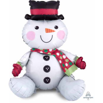 """Picture of 21"""" TABLETOP - SITTING SNOWMAN FOIL BALLOON - AIR FILLED"""