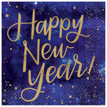 Image de TABLEWARE - MIDNIGHT NEW YEAR EVE BEVERAGE NAPKINS - 16 COUNT
