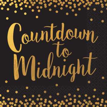 Image de TABLEWARE - COUNTDOWN TO MIDNIGHT BLACK/GOLD LUNCHEON NAPKIN - 12 COUNT