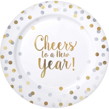 """Image de TABLEWARE - CHEERS TO A NEW YEAR - 10"""" PLASTIC PLATES - 10 PACK"""