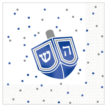 Picture of TABLEWARE - HANUKKAH HOT STAMPED BEVERAGE NAPKINS - DREIDEL