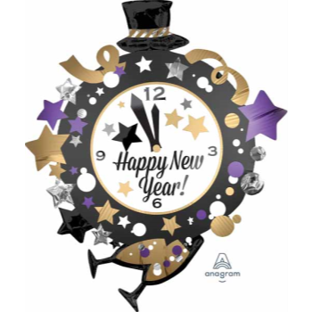 "Picture of 34"" FOIL - HAPPY NEW YEAR CLOCK SUPER SHAPE"
