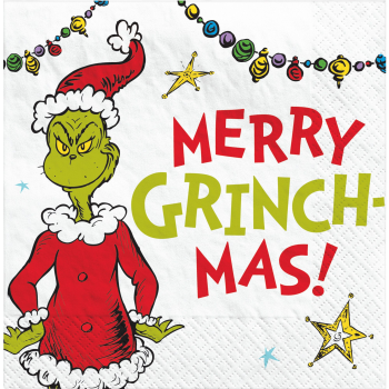 Image de TABLEWARE - TRADITIONAL GRINCH MERRY CHRISTMAS - BEVERAGE NAPKINS