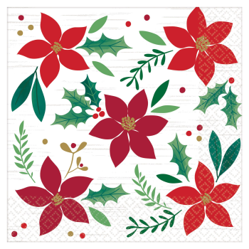 Image de TABLEWARE - CHRISTMAS WISHES - POINSETTIA DINNER NAPKIN