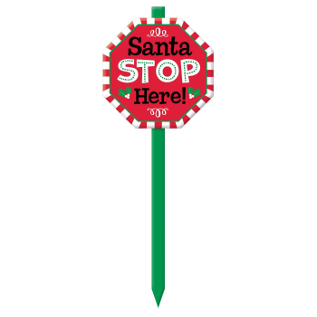 Picture of DECOR - SANTA STOP HERE YARD STAKE