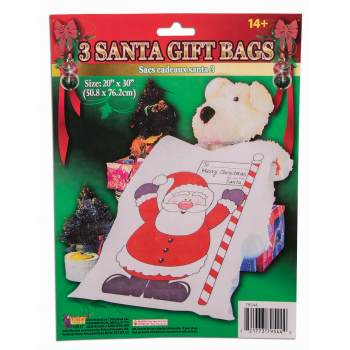 Picture of DECOR - GIFT BAGS - SANTA GIFT BAG 3/PK