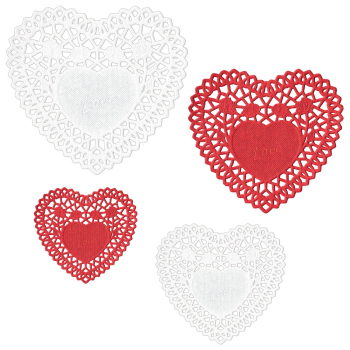 Picture of TABLEWARE - DOILIES HEART SHAPE - ASSORTED SIZES