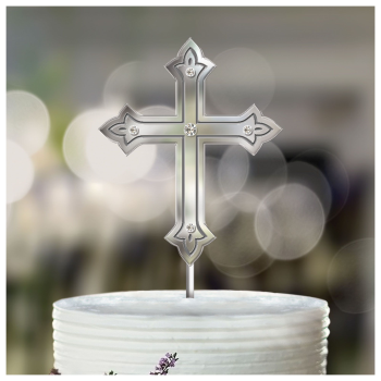 Picture of DECOR - SILVER CROSS CAKE TOPPER