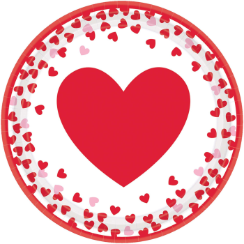 """Image de TABLEWARE - CONFETTI HEARTS - 9"""" ROUND PLATES"""
