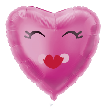 """Picture of 18"""" FOIL -  SMILING PINK HEART BALLOON"""