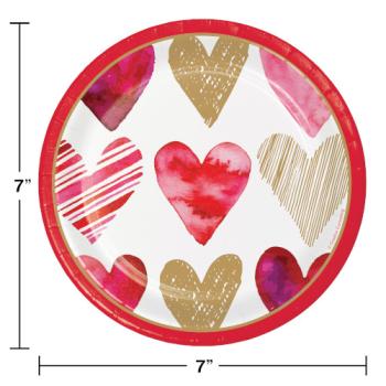 """Image de TABLEWARE - WATERCOLOR HEARTS 7"""" PLATES"""