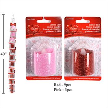 Image de DECOR - GLITTER LED VOTIVE CANDLE - RED OR PINK