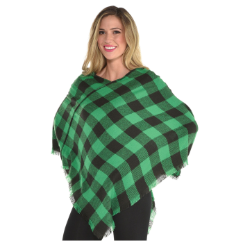 Picture of WEARABLES - GREEN PLAID PONCHO