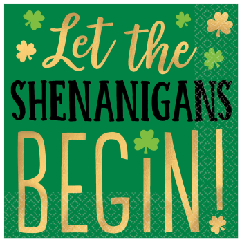Picture of TABLEWARE - LET THE SHENANIGANS BEGIN BEVERAGE NAPKINS - HOT STAMPED