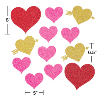 Picture of DECOR - HEARTS GLITTER ASSORTED CUT OUTS