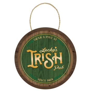 Picture of DECOR - ST PAT'S HANGING BARREL SIGN