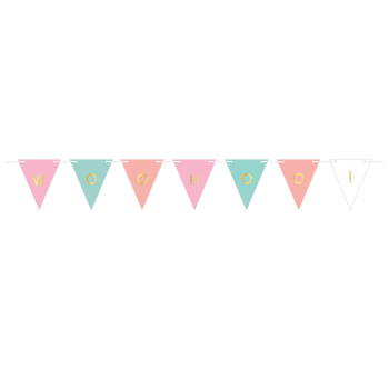 Picture of DECOR - PENNANT PAPER BANNER CUSTOMIZABLE - PASTEL & GOLD