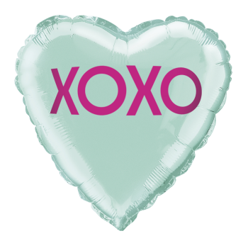 """Picture of 18"""" FOIL -  XOXO TEAL HEART BALLOON"""