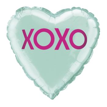 """Image de 18"""" FOIL -  XOXO TEAL HEART BALLOON"""